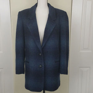 Wool Blend Blazer Coat Blue Plaid Lined Size Small